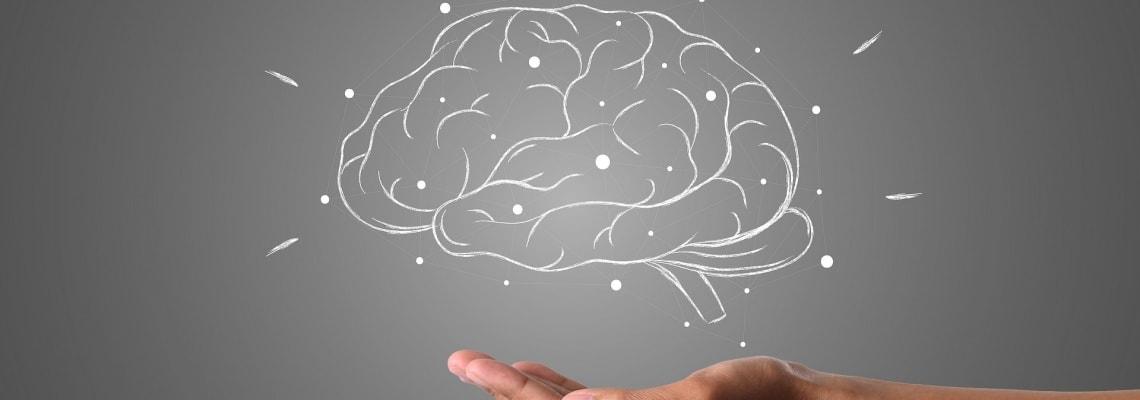 Brain floating over extended hand